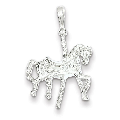 Sterling Silver 3/4in Carousel Horse Pendant