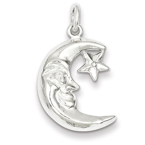 Sterling Silver 3/4in Moon and Star Pendant