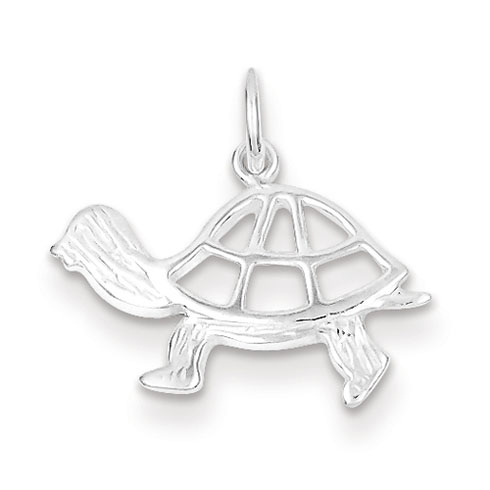 Sterling Silver 7/16in Turtle Charm with Open Back
