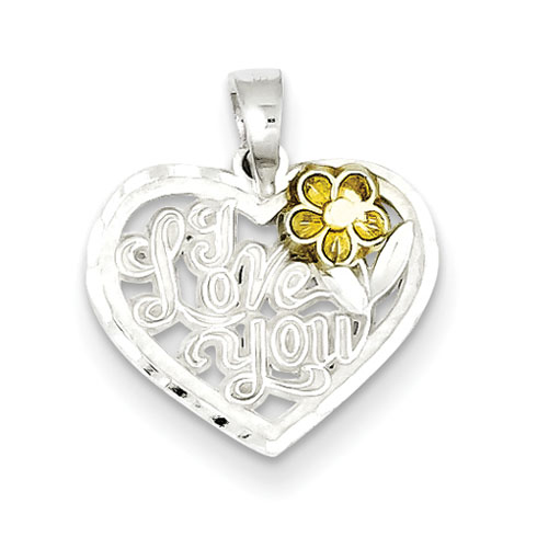 Sterling Silver I Love You Heart Charm with Flower