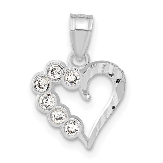 Sterling Silver 1/2in CZ Bezel Heart Charm