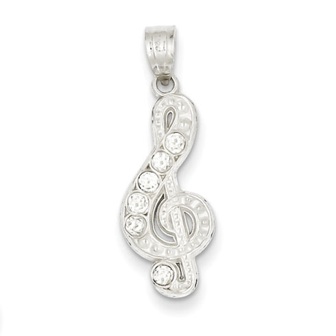 Sterling Silver CZ Treble Clef Charm