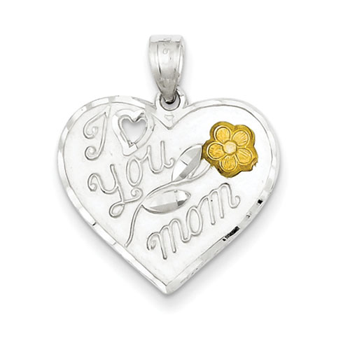 Sterling Silver I Love You Mom Heart Charm