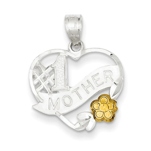 Sterling Silver #1 Mother Heart Charm