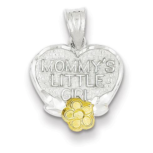 Sterling Silver 1/2in Mommy's Little Girl Heart Charm