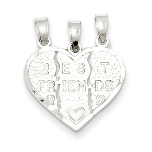 Sterling Silver Best Friend 3-piece Break Apart Heart Charm