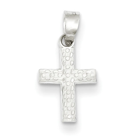 Sterling Silver 1/2in Textured Cross Charm