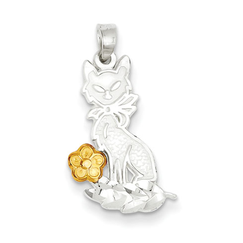 Sterling Silver Cat with Vermeil Flower Charm