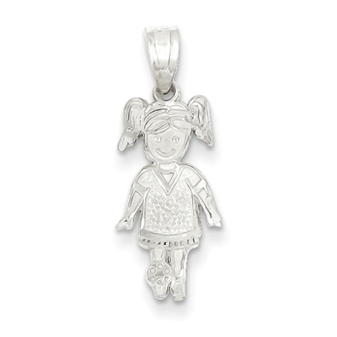 3/4in Sports Girl Charm - Sterling Silver