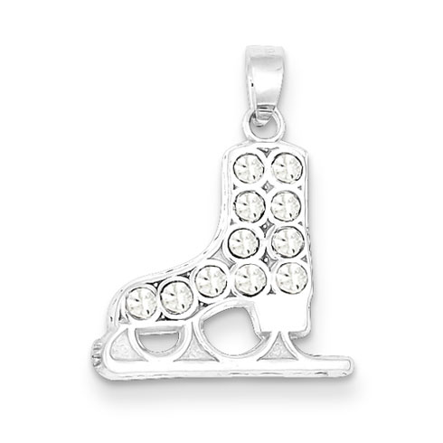 Sterling Silver CZ Ice Skate Charm