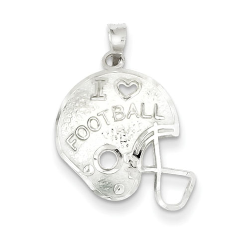 Sterling Silver I Love Football Helmet Charm