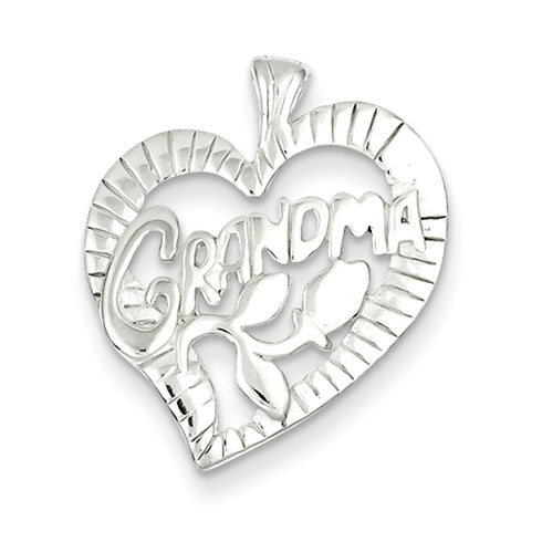Sterling Silver 3/4in Grandma Heart Charm