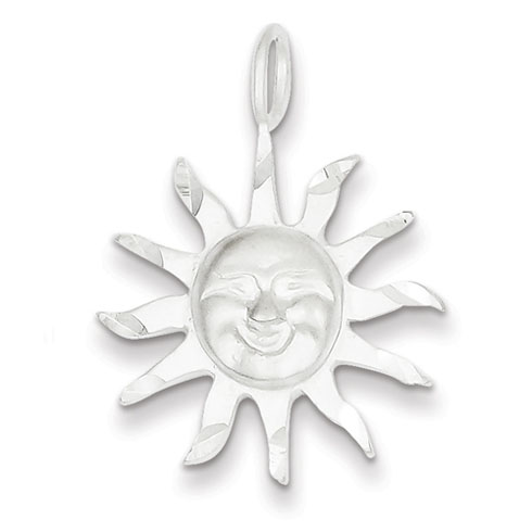 Sterling Silver Sun Pendant 7/8in