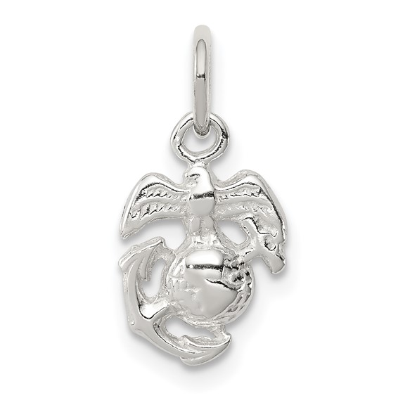 Sterling Silver 3/8in USMC Eagle Globe and Anchor Charm
