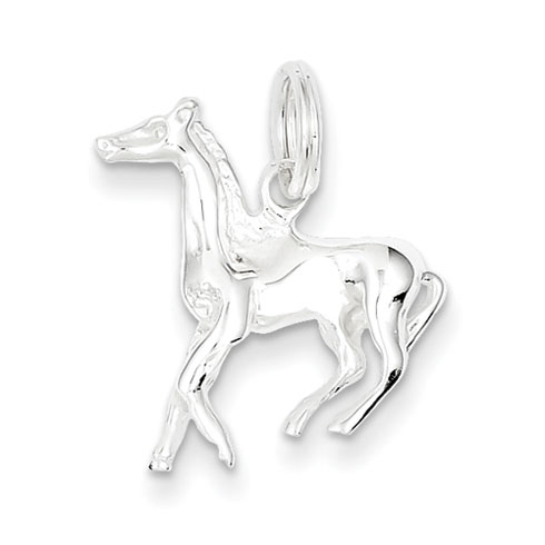 Sterling Silver 3-D 3/4in Running Horse Charm