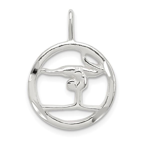 Sterling Silver Round Gymnastics Charm