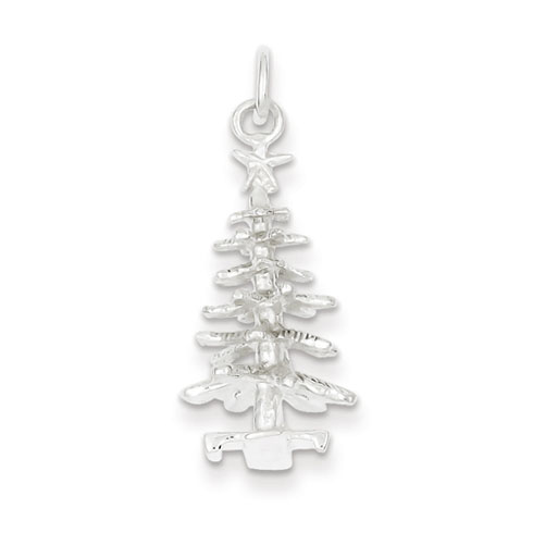 Sterling Silver 3/4in 3-D Christmas Tree Charm