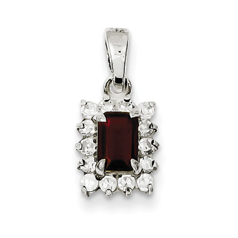 Garnet Pendant with Cubic Zirconias - Sterling Silver