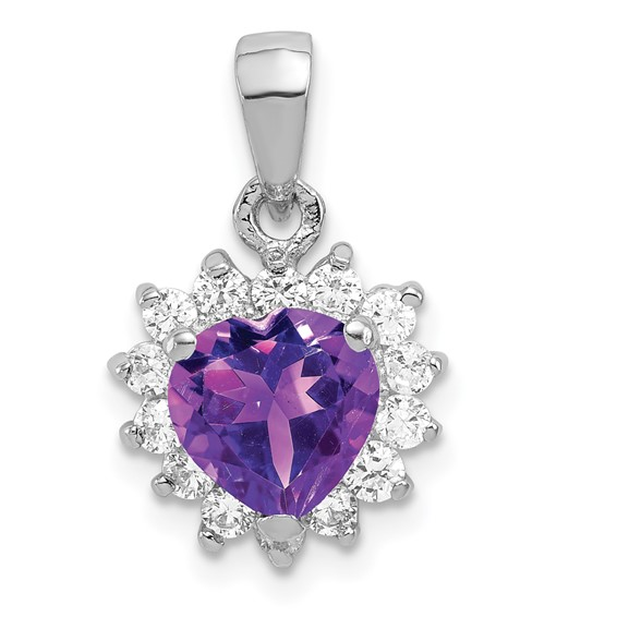 Amethyst Pendant with Cubic Zirconias - Sterling Silver
