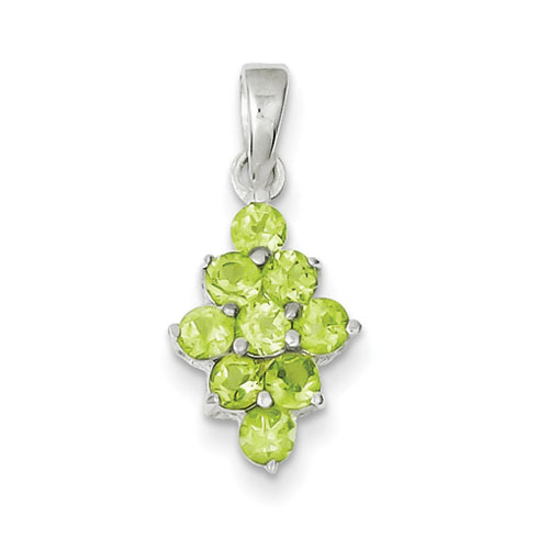 Peridot Cluster Pendant - Sterling Silver
