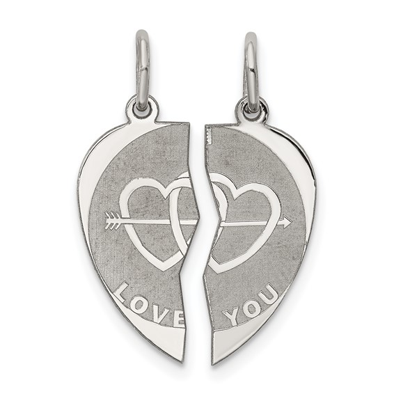 Sterling Silver 2-piece I Love You Disc Charm
