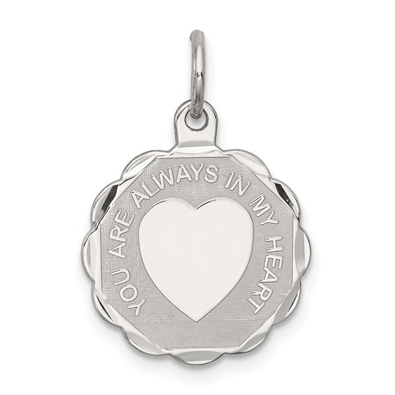 You Are Always In My Heart Charm - Sterling Silver