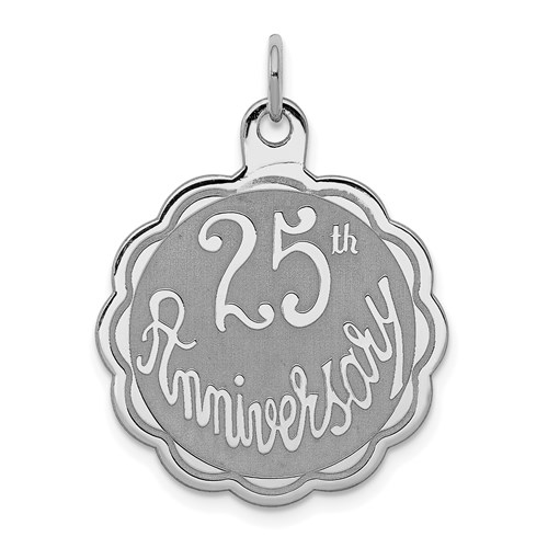 Sterling Silver 25th Anniversary Charm
