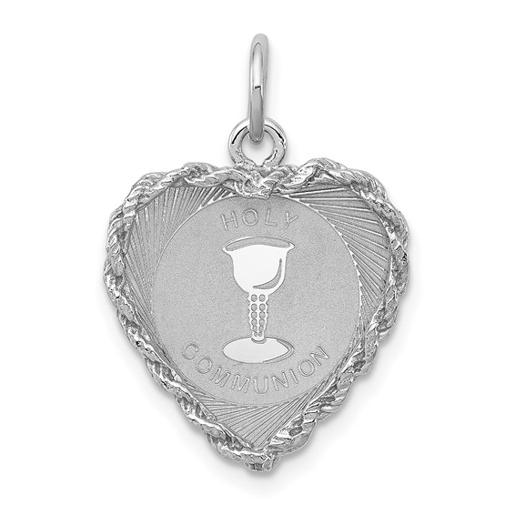 Sterling Silver 5/8in Holy Communion Heart Charm