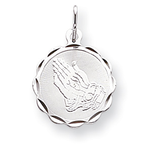 Sterling Silver 9/16in Round Praying Hands Charm