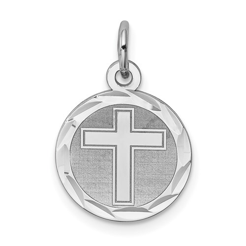 1/2in Cross Disc Charm - Sterling Silver