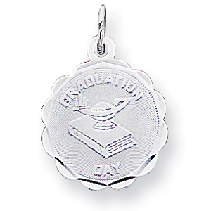 5/8in Graduation Day Lamp & Book Charm - Sterling Silver