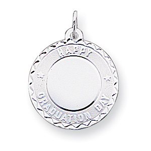 3/4in Happy Graduation Disc Charm - Sterling Silver