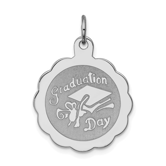 3/4in Graduation Day Disc Charm - Sterling Silver