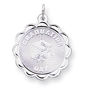 7/8in Graduation Day Cap Charm - Sterling Silver