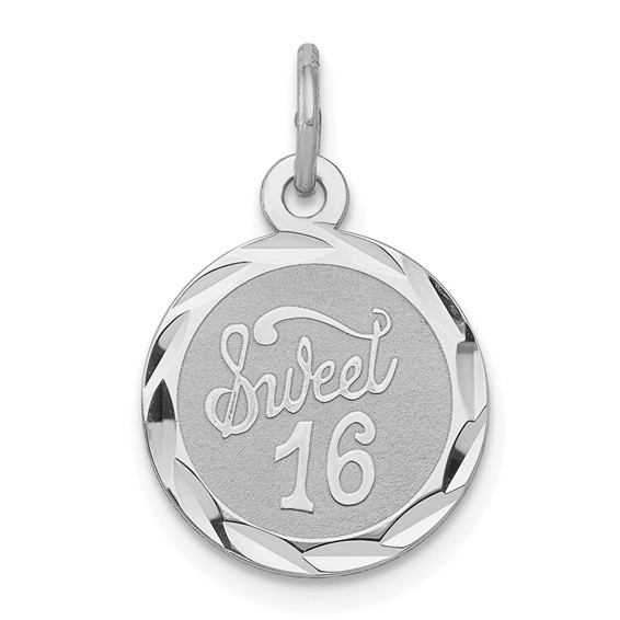 Sterling Silver Sweet 16 Disc Charm 1/2in