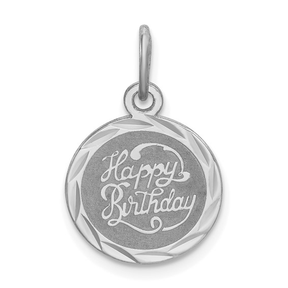Sterling Silver Happy Birthday Round Charm 1/2in