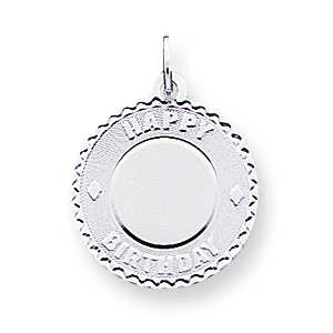 Sterling Silver 3/4in Happy Birthday Disc Charm