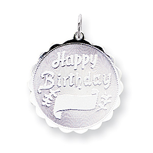 Sterling Silver Happy Birthday Disc Charm 7/8in