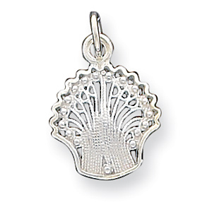 Sterling Silver 5/8in Filigree Shell Charm