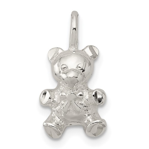 Sterling Silver Teddy Bear Charm 1/2in