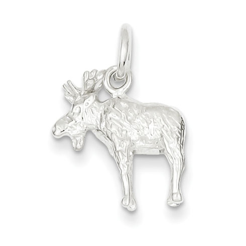 Sterling Silver Textured Moose Charm