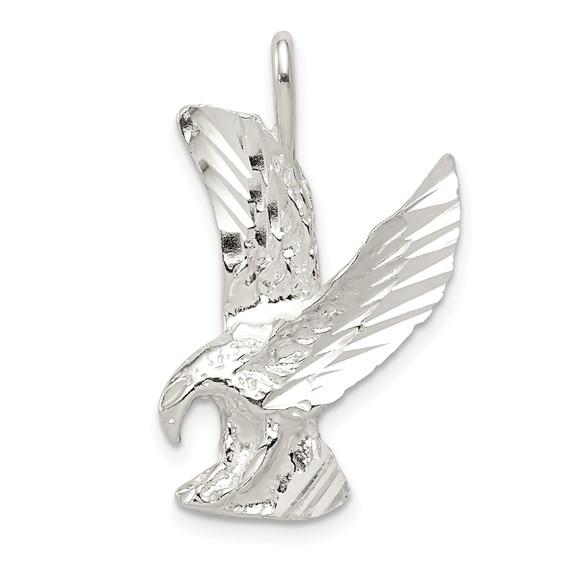Sterling Silver 1in Diamond-cut Eagle Pendant