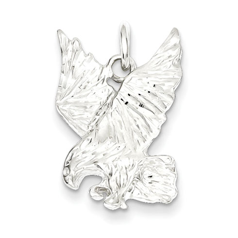 Sterling Silver 7/8in Diamond-cut Flying Eagle Charm