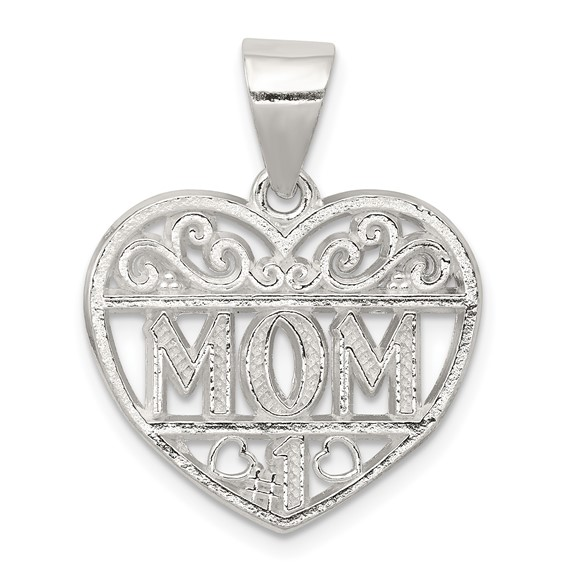 Sterling Silver #1 Mom Heart Charm