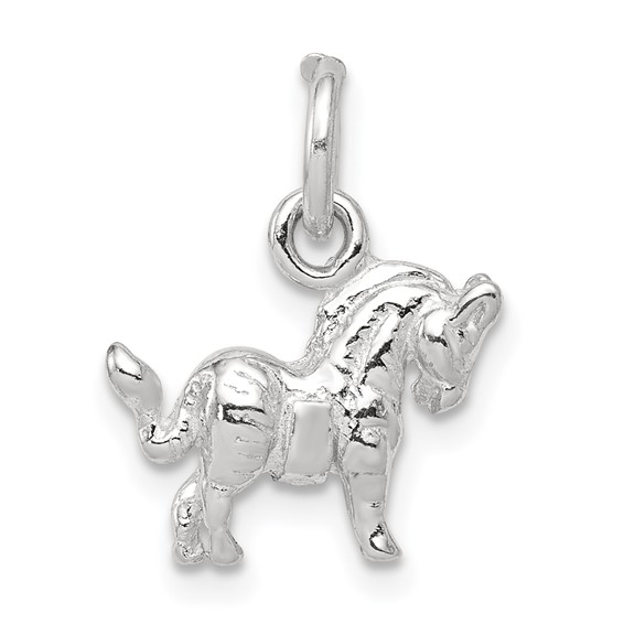 Sterling Silver 3-D 3/8in Horse Charm