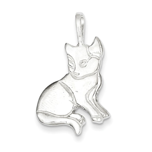 Sterling Silver 7/8in Open Back Cat Charm