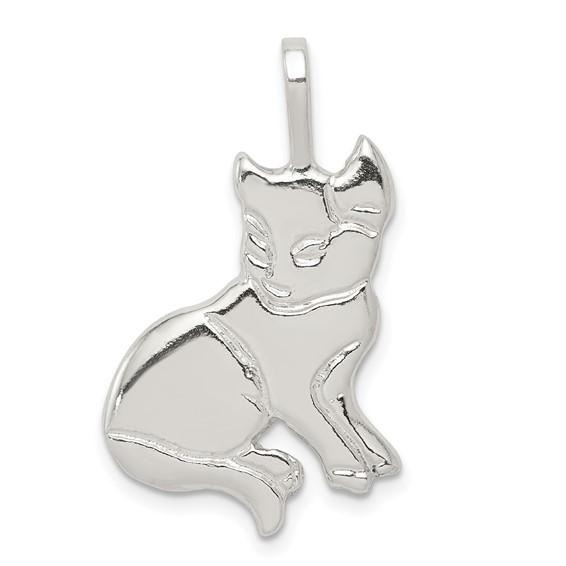 Sterling Silver 7/8in Open Back Cat Charm
