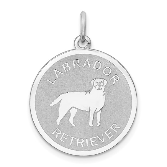 Sterling Silver 3/4in Labrador Retriever Disc Charm