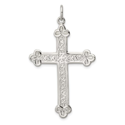 Sterling Silver 2in Budded Cross Pendant