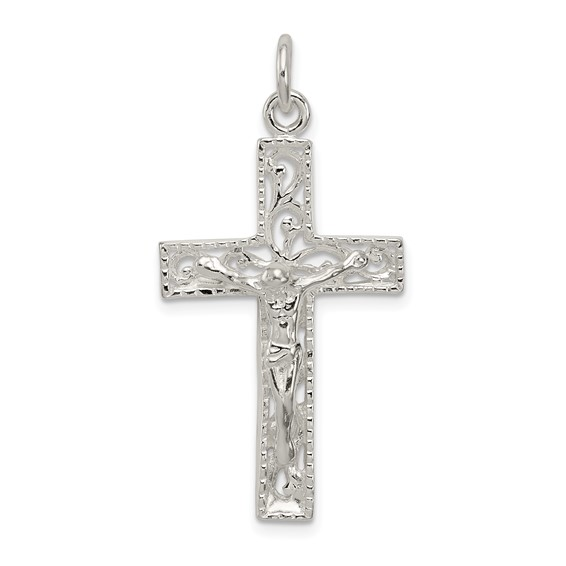 1 3/16in INRI Crucifix Charm - Sterling Silver